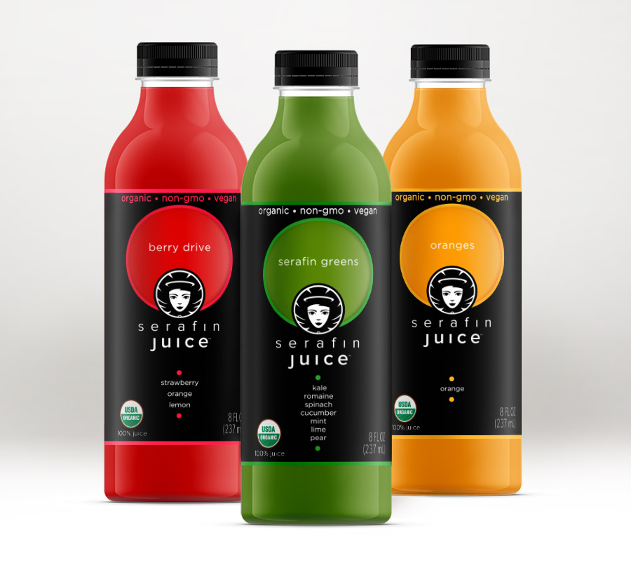 Serafin Juice Cold-Pressed Organic Juice label design