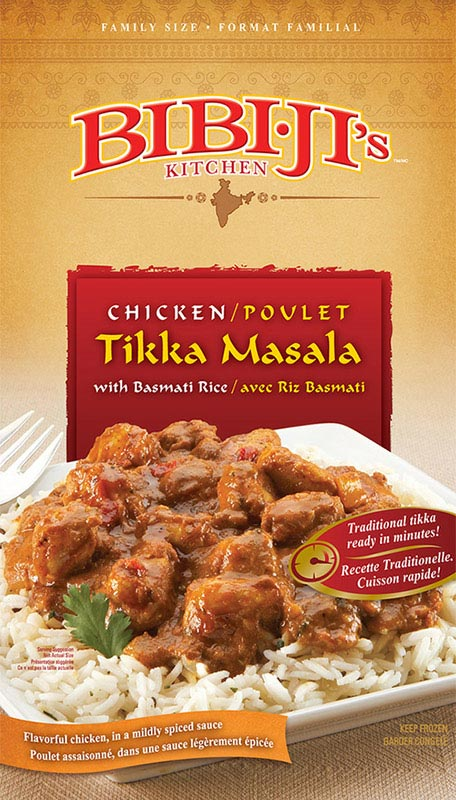 Bibi J's Tikka Masala box package design