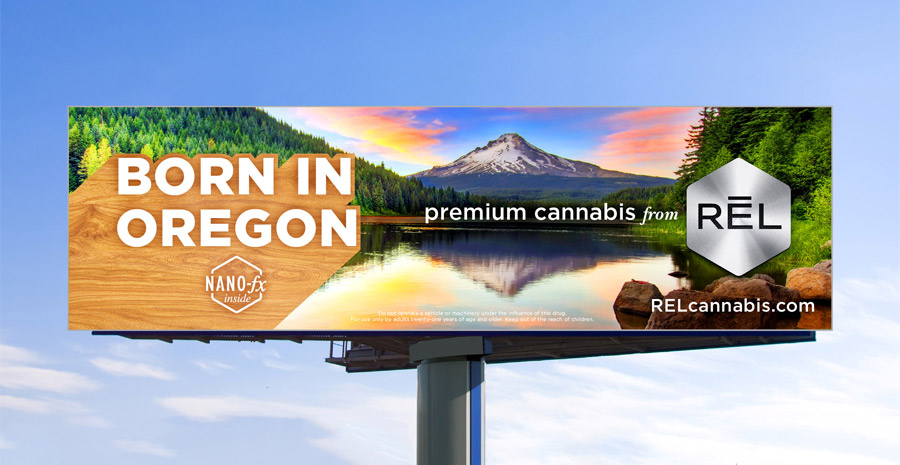 RĒL Cannabis billboard design