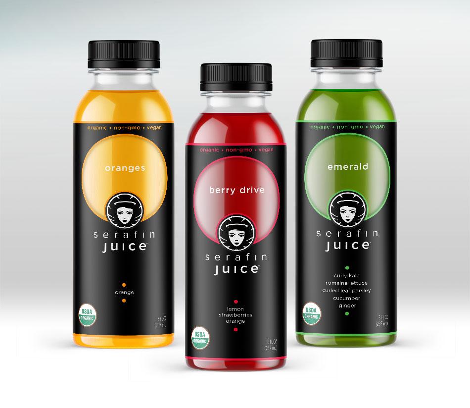 Serafin Juice Cold-Pressed Juice label design