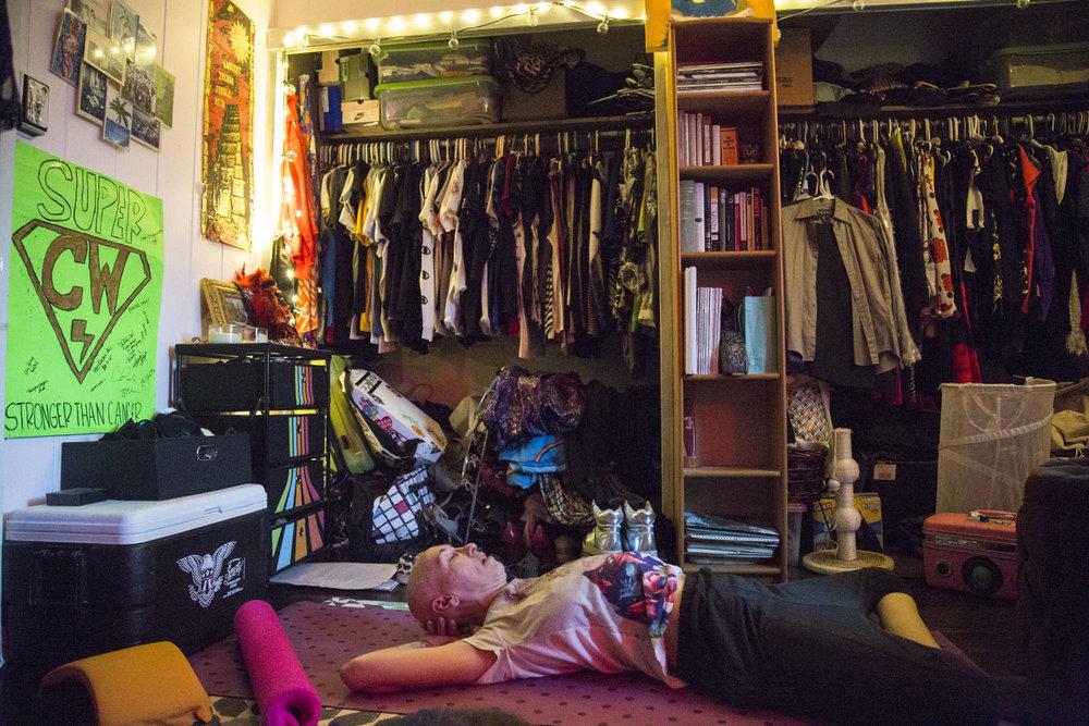Wittmier does yoga in her Honolulu, HI bedroom.