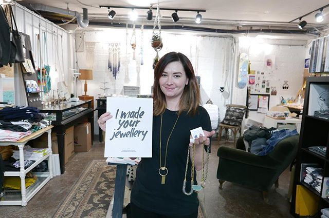 It's Fashion Revolution Week in #yeg promoting  transparency and celebrating the people behind your clothing and accessories. Following in the footsteps of @mercerwarehouse , we want to share the amazing people who are creating wearable items in Vacancy Hall. Meet Tory from @karmavictoriajewelry. Aside from creating stunning jewelry pieces, she also owns, operates and curates @hideoutdistro! Thanks for being a part of the fashion revolution, Tory!