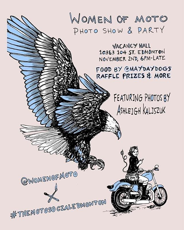 This Thursday. @womenofmoto is hosting a photo show and party with food by the newly opened @maydaydogs and drink by @steamwhistlebrewing in the lower level of @mercerwarehouse, Vacancy Hall. There will also be tattoo artists on site with prizes for raffle.  Admission by donation to the @yegfoodbank!  #yeg #yegdt #yegmotorcycle #yegphotography #mercerwarehouse #yegtattoo #yegfood