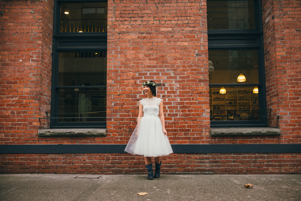 Bridal Portrait on Her Wedding Day in Pioneer Square, Seattle, WA