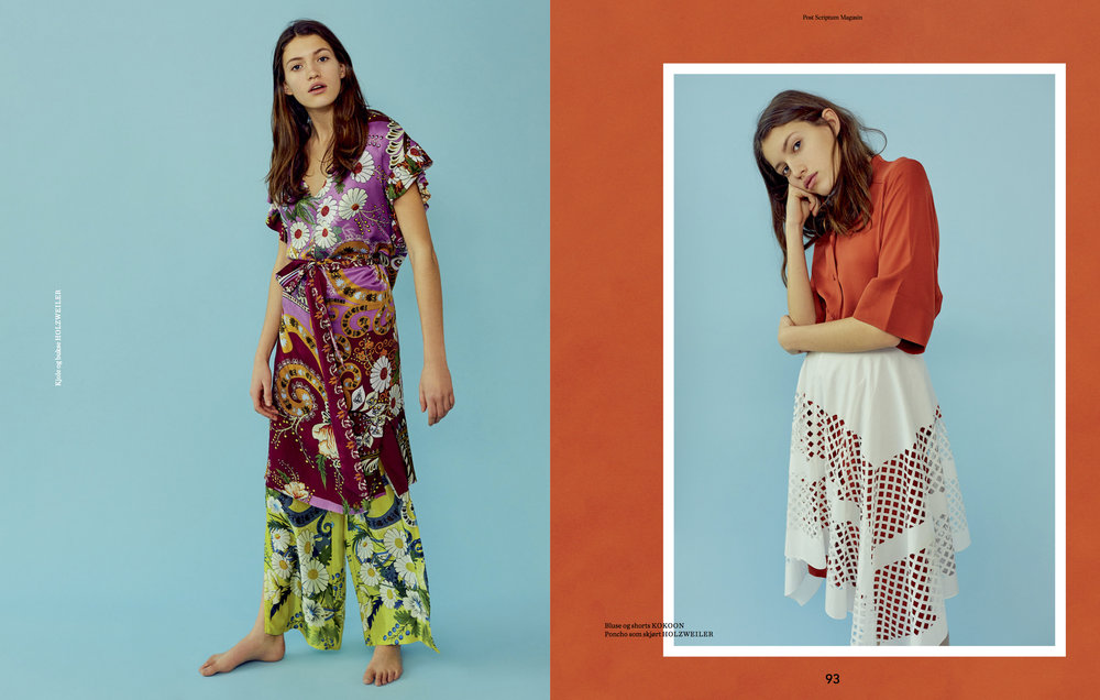 Venstre: Kjole og bukse HOLZWEILER  Høgre: Bluse og shorts KOKOON Poncho som skjørt HOLZWEILER