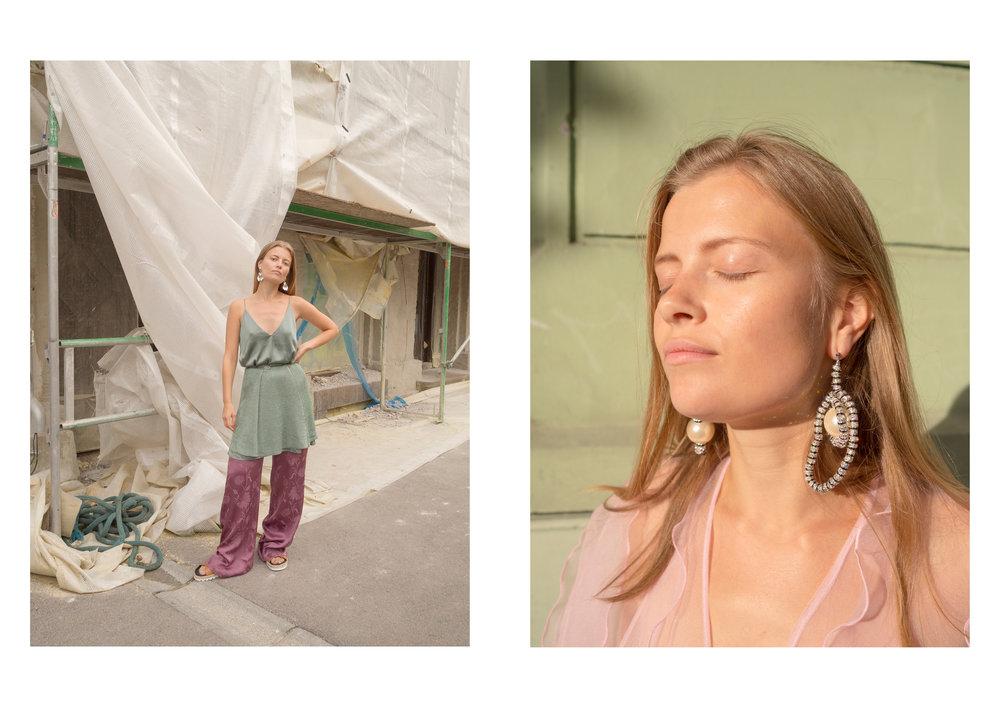 Øredobber: Annie Berner Topp/kjole: ZARA Skjørt: Karine Næss Bukse: ZARA & Øredobber Pearl Octopussy Jakke: Tikopaksa