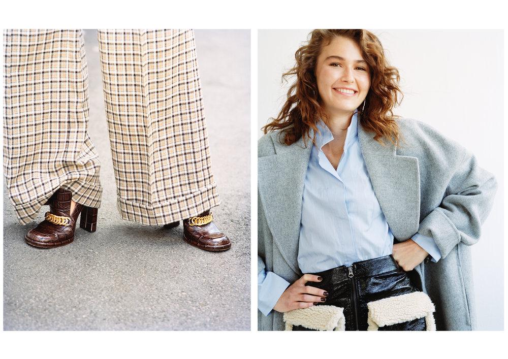 Maud: Bukse og sko fra Mulberry & Isabel: Kåpe - Acne Studios Skjorte - By Malene Birger Skjørt - Monki Øredobber - Dyrberg/Kern