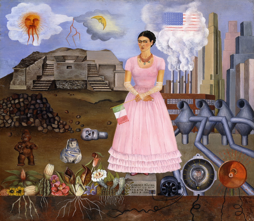 Self-portrait on the Border between Mexico and the United States of America, Frida Kahlo, 1932 © 2017 Banco de México, Fiduciary of the Trust of the Diego Rivera and Frida Kahlo Museums, Av. 5 de Mayo, No. 2, Col. Centro, Del. Cuauhtémoc, CP 06000, Mexico City.