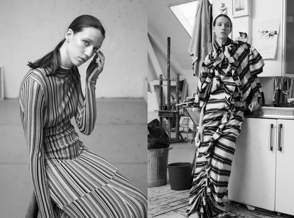 Left: Dress Rodebjer SS19. Right: Moiré SS19
