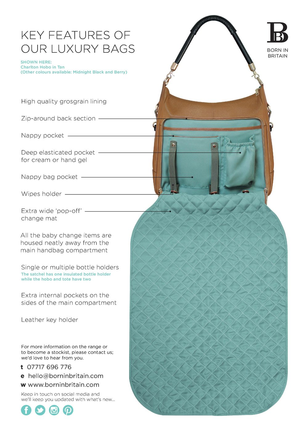 Key features of a Born In Britain Luxury changing bag