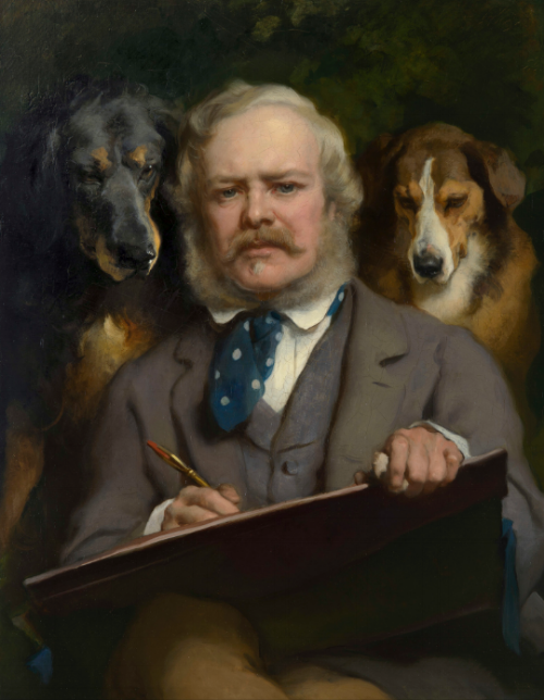 Edwin Landseer 'The Connoisseurs: Portrait of the Artist with Two Dogs'