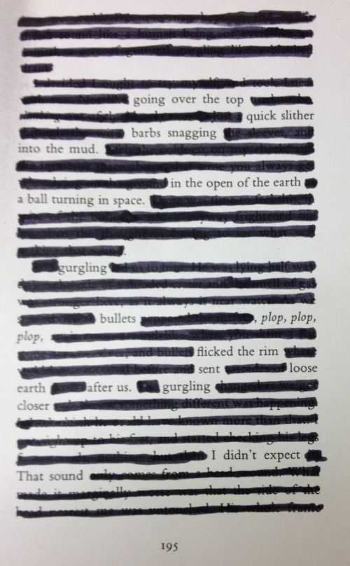 Example of redacted poetry from the Scottish Poetry Library (using a page from Pat Barker's 'The Ghost Road')