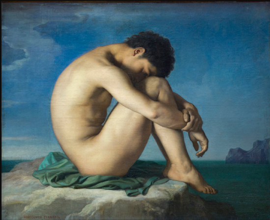 Flandrin 'Young Male Nude Seated Beside the Sea'