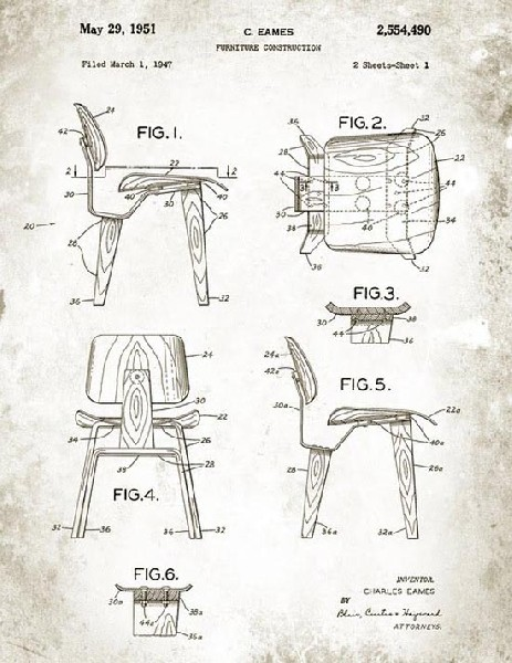 Patent Drawing for LCW chair 1947