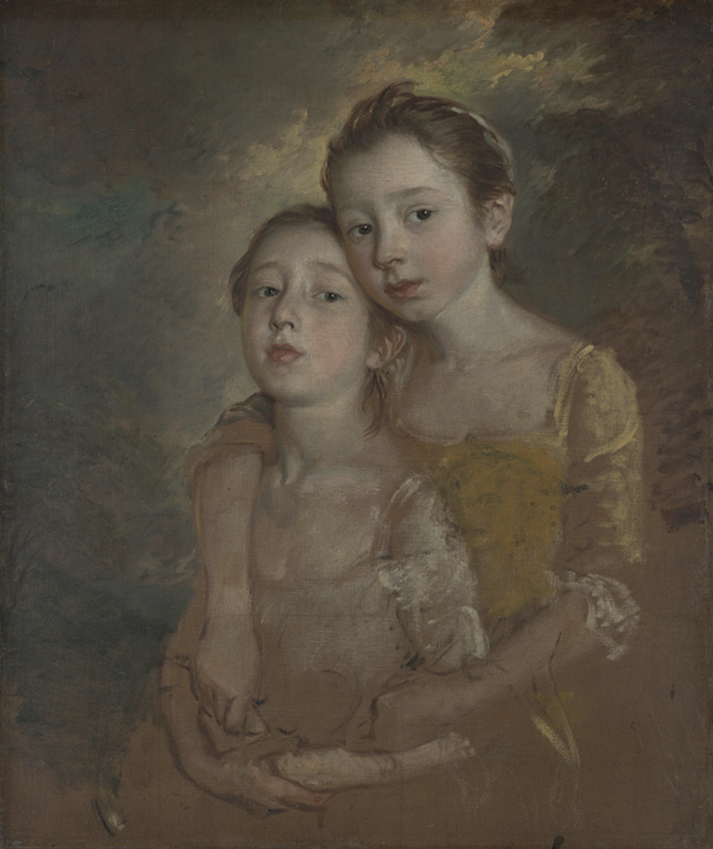 Thomas Gainsborough - The Painter's Daughters with a Cat. Circa 1760-1.  Courtesy of The Nation Gallery
