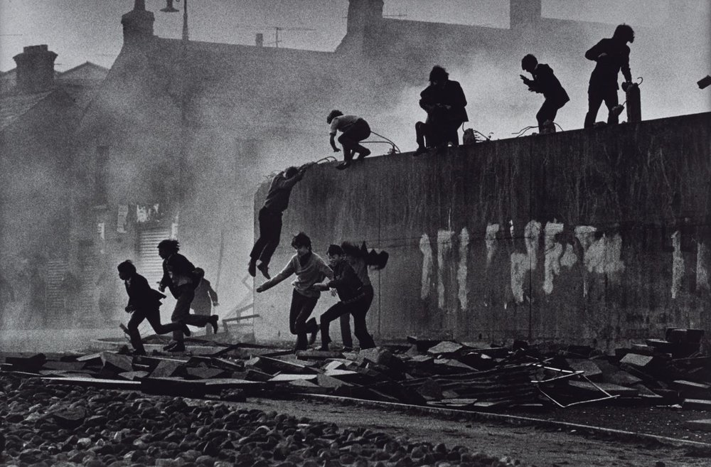 Don McCullin  Gangs of Boys Escaping CS Gas Fired by British Soldiers