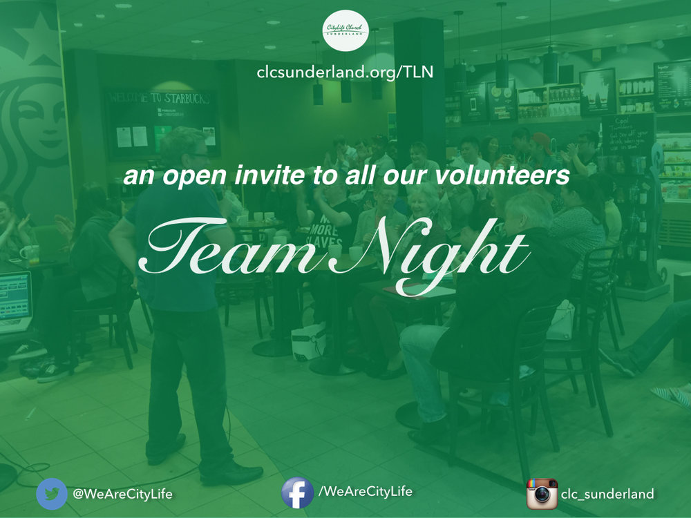 We are hosting another Team Night at Starbucks (inside the Bridges Shopping Centre). Team Nights are always encouraging and all of life giving teaching and conversation. Maybe you aren't part of team, well why not come along and see what all the fuss is about?! This is a great opportunity to grow in our leadership together so we can be more equipped for church life, family life and in the workplace!
