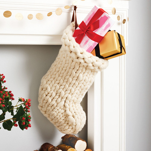 white christmas stocking hand knitted christmas stocking - White Knit Christmas Stockings