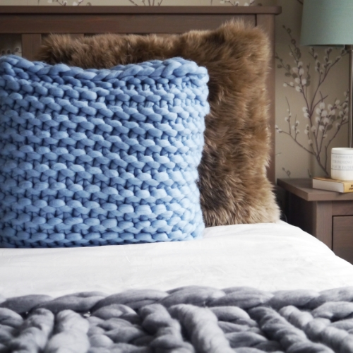 Large Square Hand Knitted Cushion