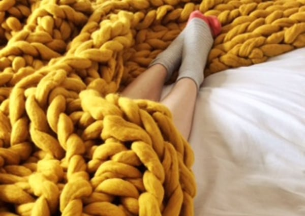 Mustard Throw on Bed