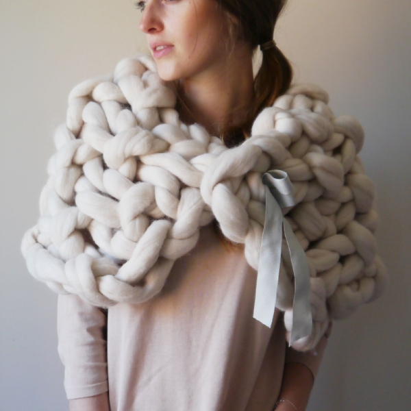 Lauren Aston Designs Chunky Knit Cape in Oyster