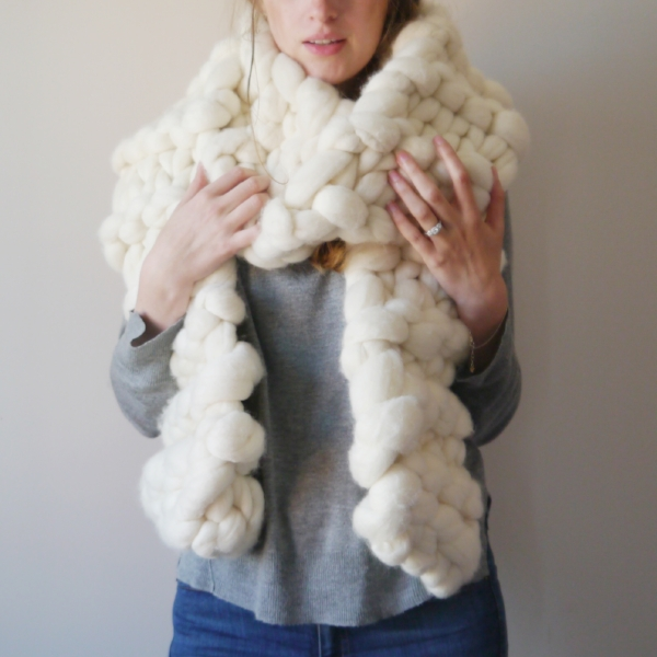 Lauren Aston Designs Chunky Knit Scarf in Natural White