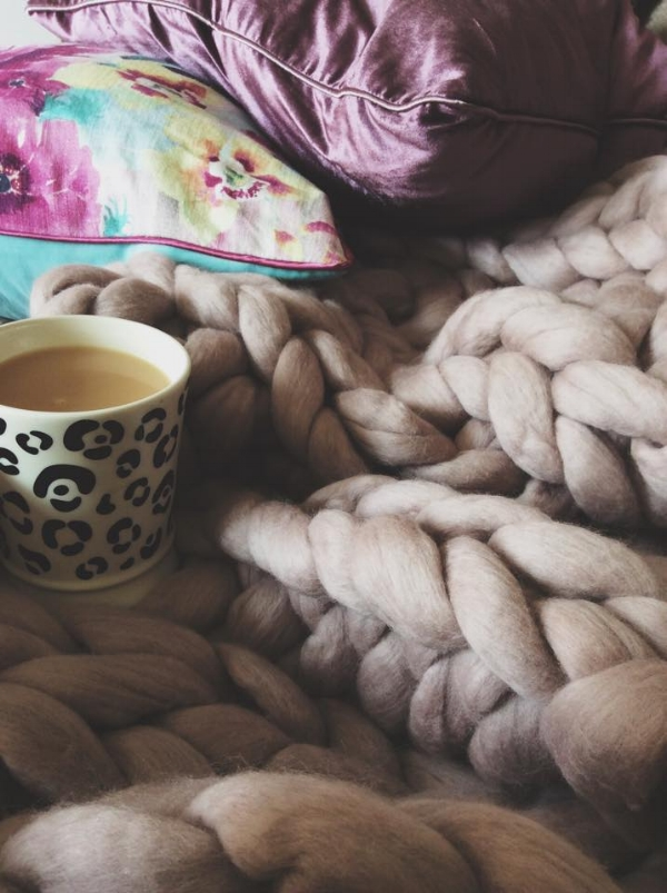 Hygge Lauren Aston Designs blanket & Qtique mug