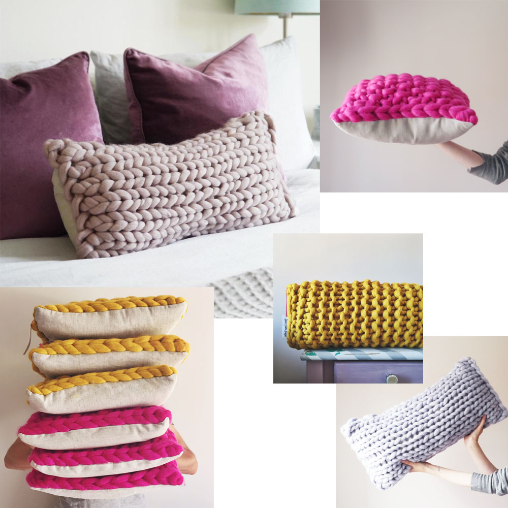 Shop Cushions  - Oblong, square, colourful, neutral, big, small, linen... there's plenty to choose from when it comes to chunky knit cushions, but thankfully, they're always Merino.