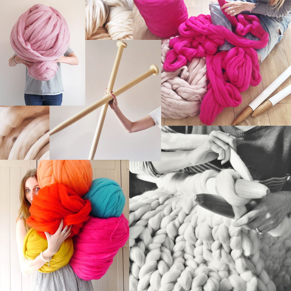 Shop DIY & Knit Kits - 40mm needles + super soft & hypoallergenic merino wool = Endless possibilities