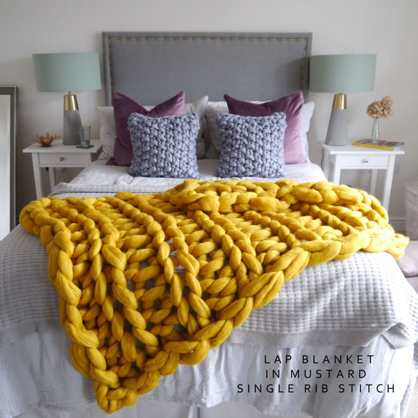 Chunky knit blanket Mustard