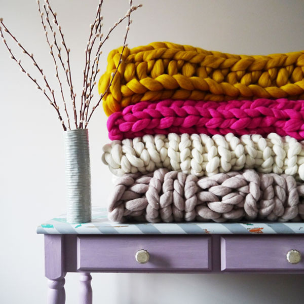 Chunky knit blankets by Lauren Aston Designs