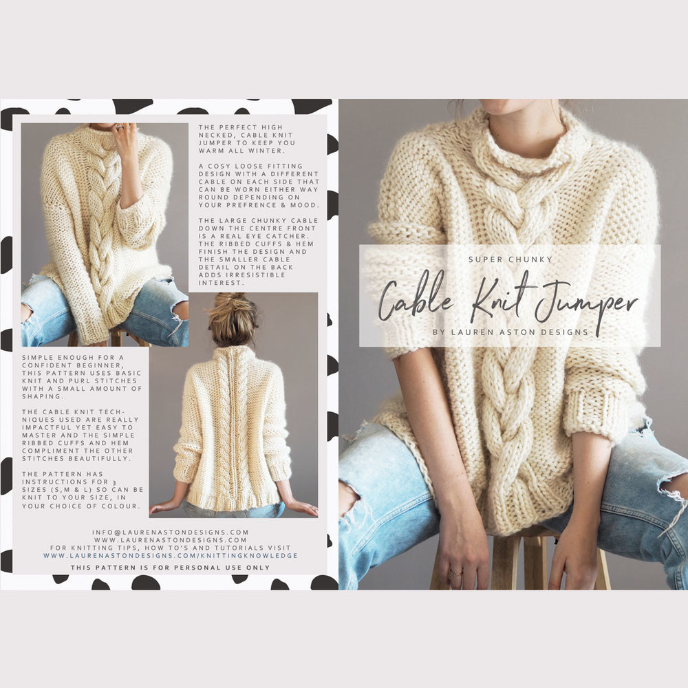 Large Chunky Cable Knit Sweaters Topsimages