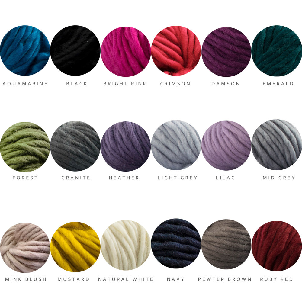Colours - All the Super Chunky Knit Kits are available in any of these colours. The hardest part is always choosing your favourite! If you get a kit with a colour pop you have a choice of the following 8 colours for the pop - Aquamarine, Bright Pink, Crimson, Forest, Lilac, Mid Grey, Mink Blush, Mustard.