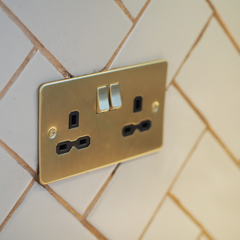Brushed Brass Plug Sockets