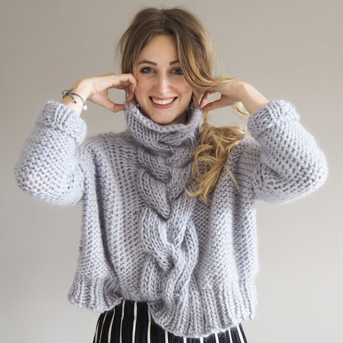 4be9a3295b5b66 Cropped Cable Knit Jumper Pattern — Lauren Aston Designs