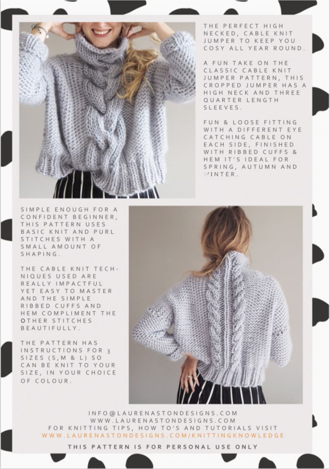 Cropped Cable Knit Jumper Pattern — Lauren Aston Designs