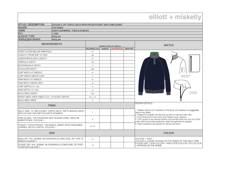 Knitwear technical spec