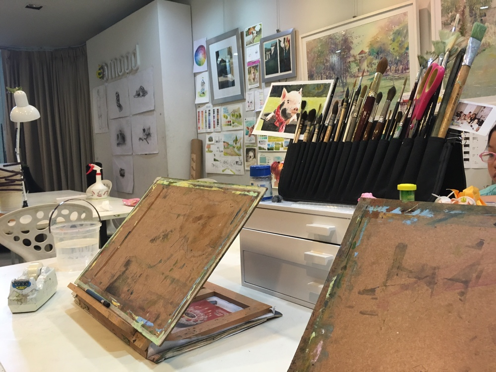 Here's a quick look in the studio. An abundance of drawing tools!
