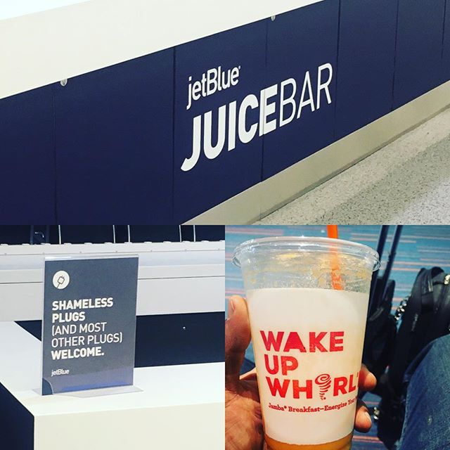 At 5:30am EST just in from LAX, this 'juice bar' (charging station) seems like false advertisement. Super clever tho! And, I did find the juice! #almostthere