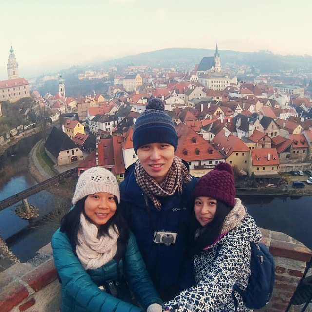 Shao Hui, Wei Kiat, Shaomin (left to right) in Cesky Krumlov, Czech Republic