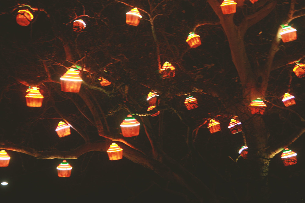 Such cute cupcake lighting at one of the christmas markets!