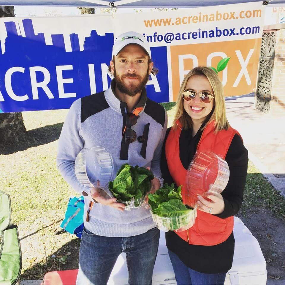 Andrew Abendshein and Ana Buckman showing off their produce (Photo Credit AIAB Instagram)