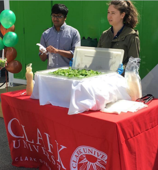Clark students offering samples from their first harvest.