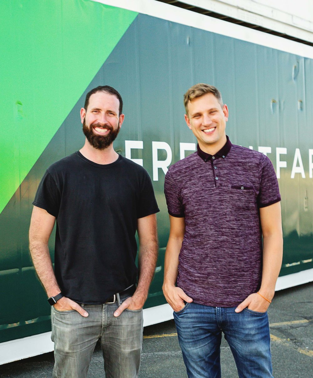 Co-founders Brad McNamara (left) and Jon Friedman (right) at Freight Farms headquarters in Boston, MA.