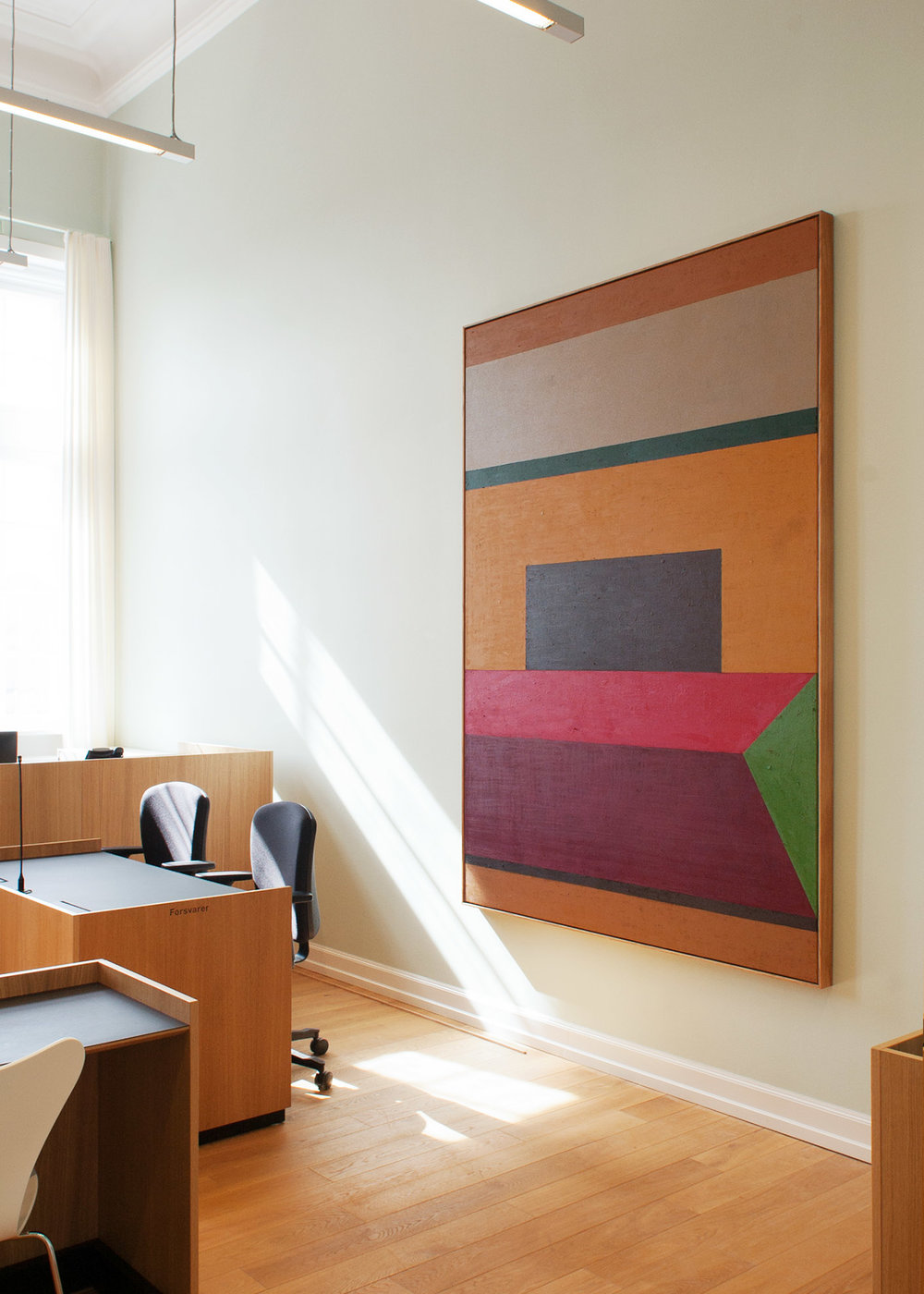 """Aarhus Courthouse, Aarhus, Denmark, 2018 (""""In Time"""", acrylic and oilstick on canvas, 243 x 173 cm)"""