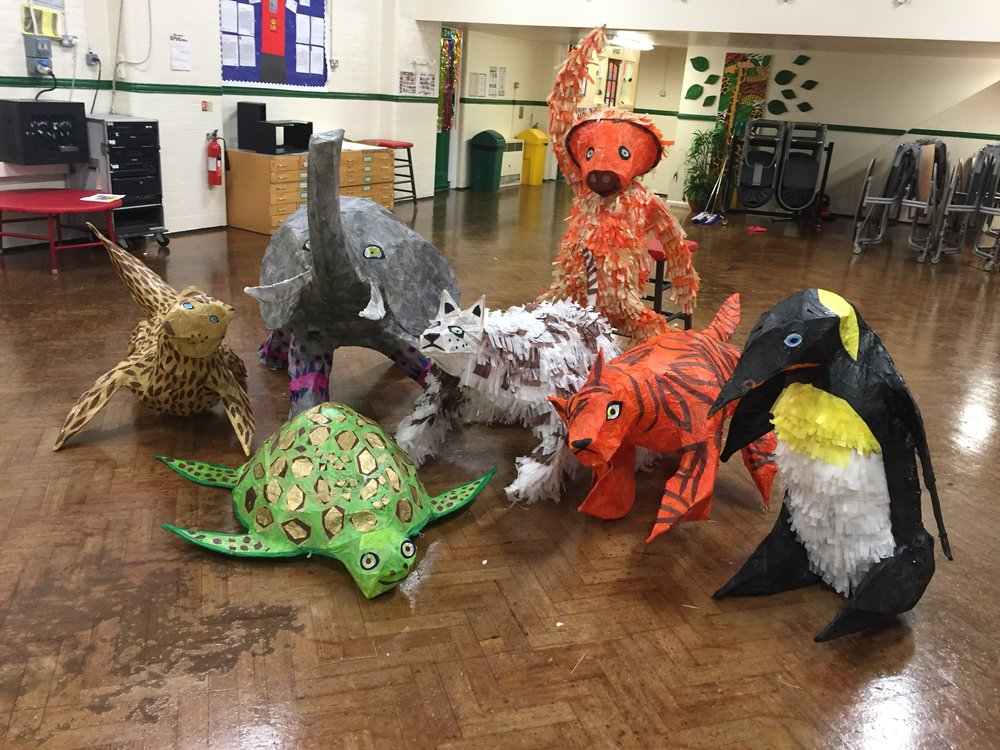 Year group animals created with the whole school Yr - Y6