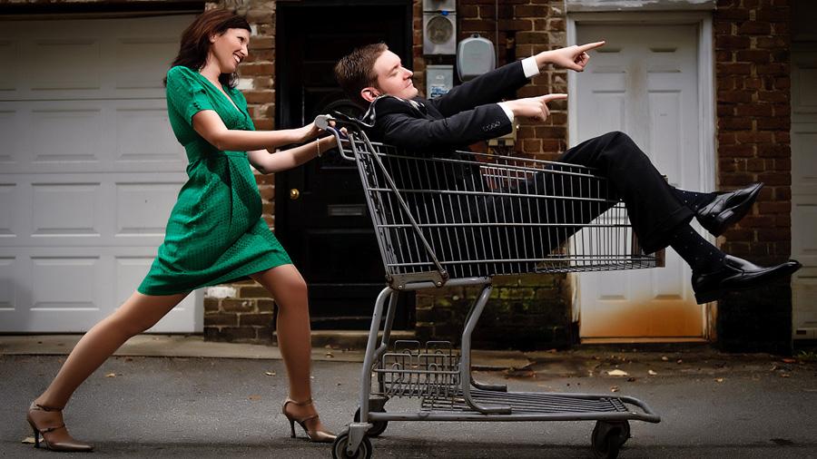 Savannah Wedding Photography - Shopping Cart Fun