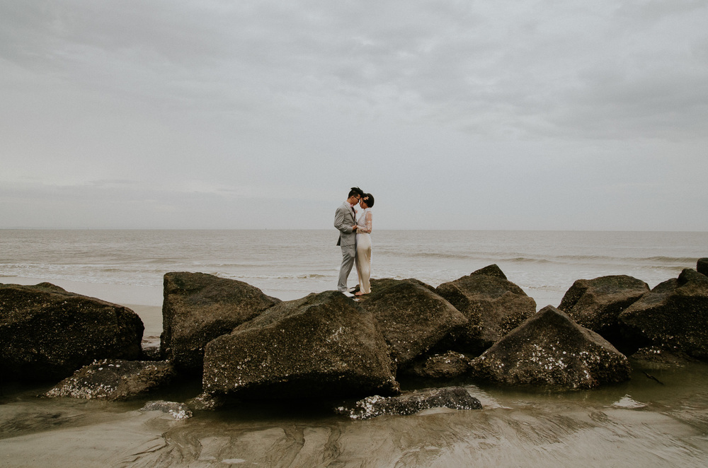 Tybee Island Photographer - Bride and Groom on Jetty