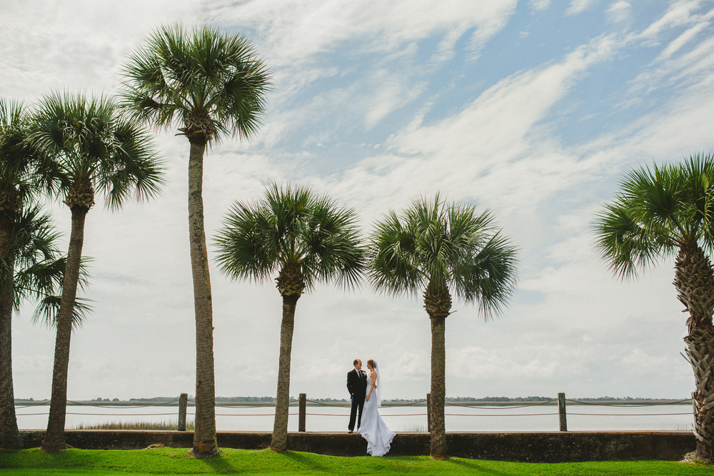 Jekyll Island Wedding - Bride and Groom with Palm trees