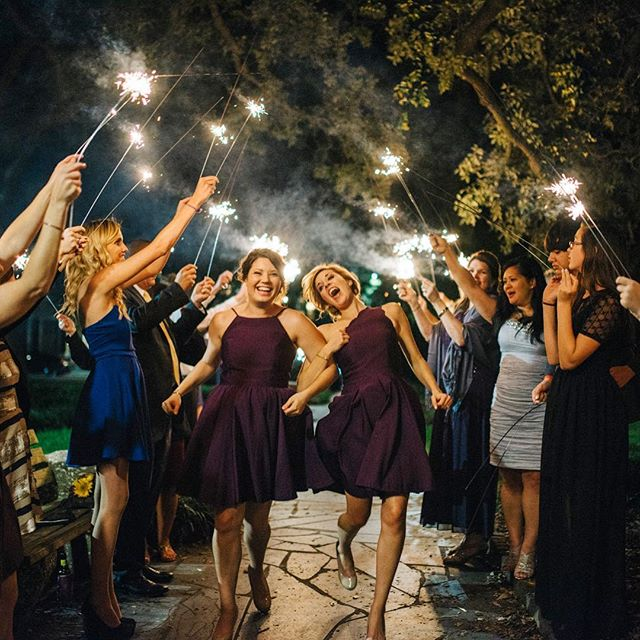 Sparkler Exits... Who says the bridesmaids can't have a little fun too!! #sparklers #bridesmaids #savannah #conceptaphoto #chasinglight